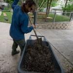 James mixing up the Mel's mix soil.