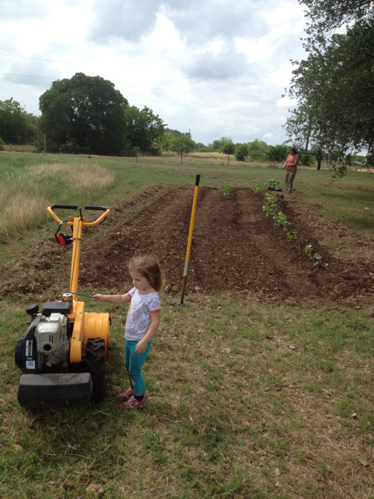 Ele inspects the tiller while taking a break from planting with mom.