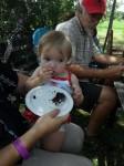 Everyone enjoys some birthday cake!